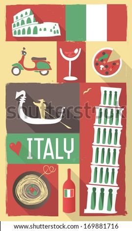 Retro Drawing of Italian Cultural Symbols on a Poster and Postcard