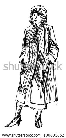Retro dressed woman ink sketch auto trace.
