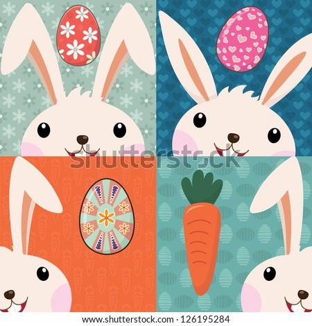 Retro Easter Bunny with Painted Eggs - stock vector