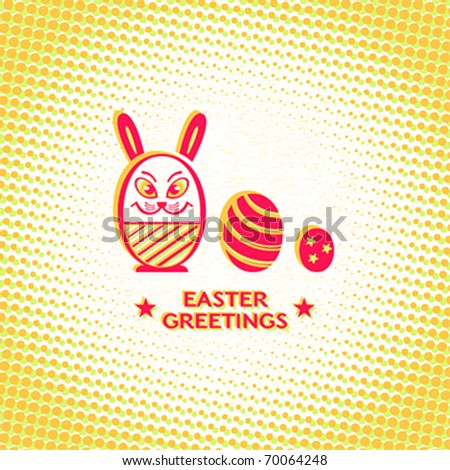 retro easter card with