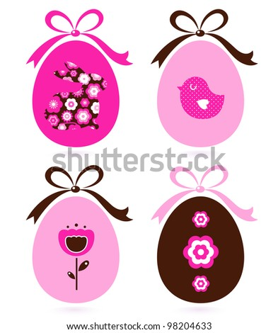 Retro easter eggs set isolated on white ( pink & brown )