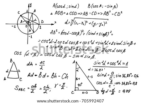 Retro education and scientific background. Trigonometry law theory and mathematical formula equation on whiteboard. Vector hand-drawn illustration.