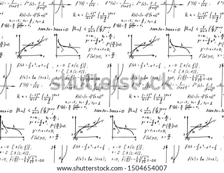 Retro education background. Trigonometry law theory, mathematical formulas and equations on white board. Vector hand-drawn seamless pattern on blackboard.