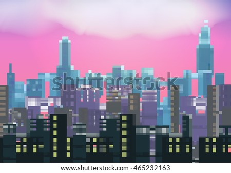 retro eight bit city skyline at