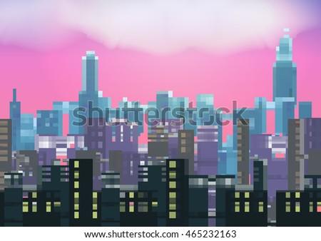 retro eight bit city skyline at