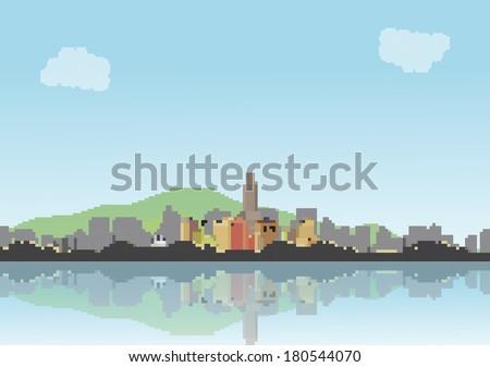 retro eight bit city skyline