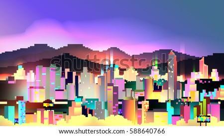 retro eight bit neon city