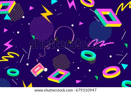 Retro Eighties Abstract Background Pattern