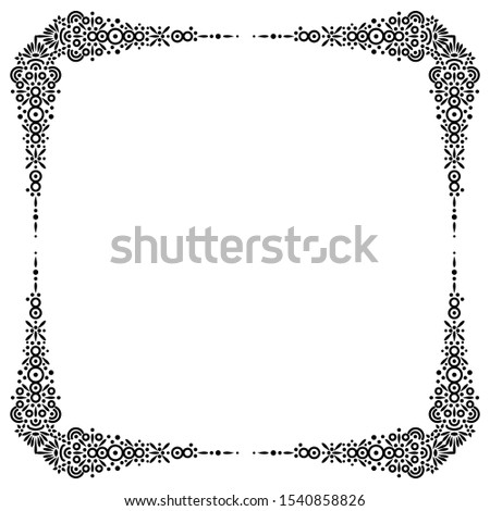 Retro, elegant and classy decorative frame. Decorative elements. Creative black and white border.