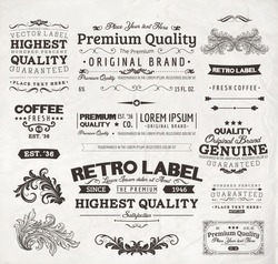 Retro elements for calligraphic designs   Vintage ornaments   Premium Quality labels   Guaranteed, Coffee and Genuine labels   eps10 vector set
