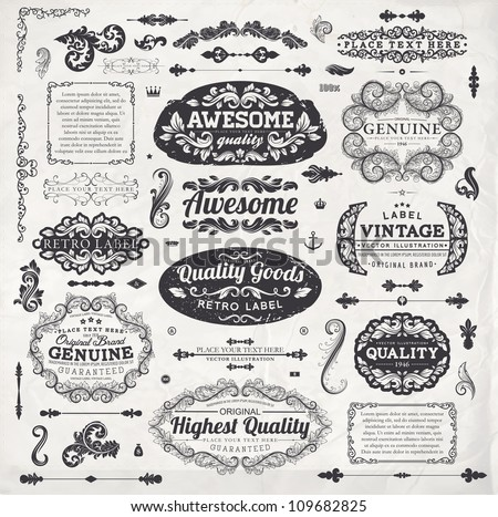 Retro elements for calligraphic designs | Vintage ornaments | Premium Quality labels | Guaranteed, Awesome and Genuine labels | Floral engraving frames and borders | Old paper texture eps10 vector set