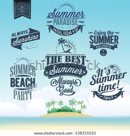 Retro elements for Summer calligraphic designs | Vintage ornaments | All for Summer holidays | tropical paradise, sea, sunshine, weekend tour, beach vacation, adventure labels | vector set