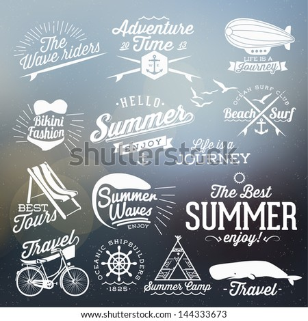 Retro elements for Summer calligraphic designs Vintage ornaments All for Summer holidays tropical paradise sea sunshine weekend tour beach vacation adventure labels vector set