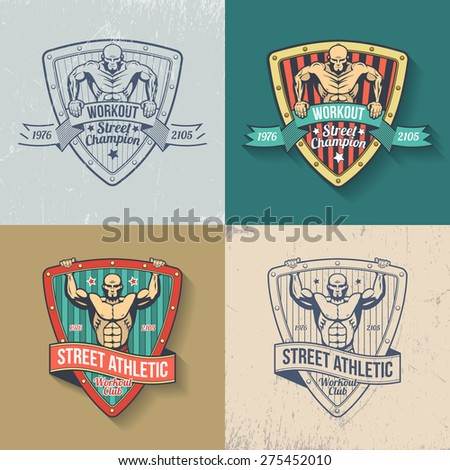 Retro emblem of athletic club in color and monochrome versions. Logos gym, fitness club, street workout club. Muscular man on emblem in old-school style. Scratches on separate layer - easy to remove.