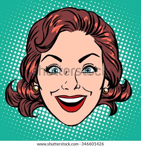 retro emoji smile joy woman