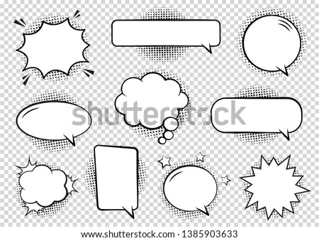 Retro empty comic bubbles and elements set with black halftone shadows on transparent background. Vector illustration, vintage design, pop art style. #1385903633