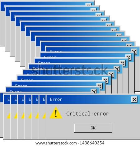 Retro error message. Old dialog box of system failure notification