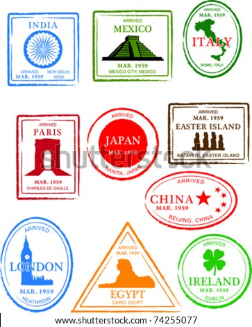 Retro European Set of Fun World Passport Stamps Vector Illustration - stock vector