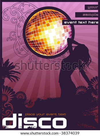 retro event flyer/poster design with dancing girl and glittering disco ball - stock vector