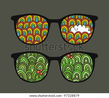 Retro eyeglasses with nature reflection in it. Vector illustration of accessory.
