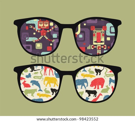 Retro eyeglasses with old school reflection in it. Vector illustration of accessory -  isolated sunglasses.