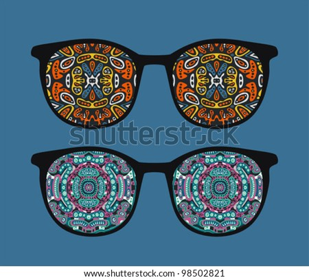 Retro eyeglasses with ornament reflection in it. Vector illustration of accessory -  isolated sunglasses.