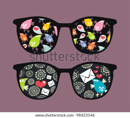 Retro eyeglasses with strange birds reflection in it. Vector illustration of accessory -  isolated sunglasses.