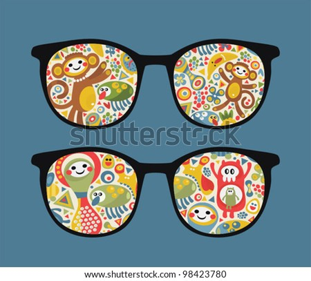 Retro eyeglasses with strange creatures reflection in it. Vector illustration of accessory -  isolated sunglasses.