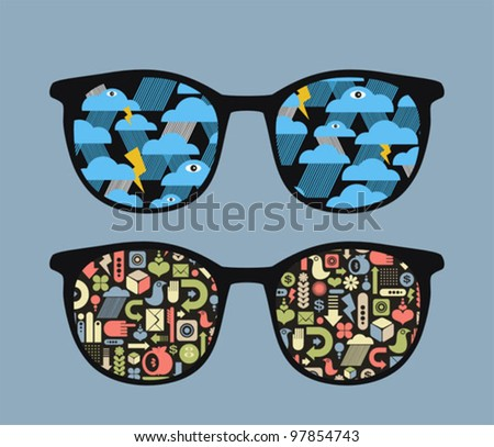 Retro eyeglasses with symbols reflection in it. Vector illustration of accessory. - stock vector
