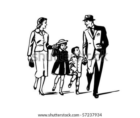 Retro Family - Clip Art - stock vector