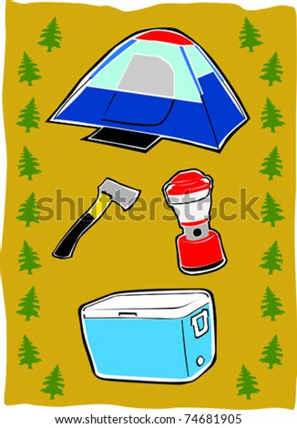Retro Family Fun Summer Camping Essentials Collage Vector Illustration
