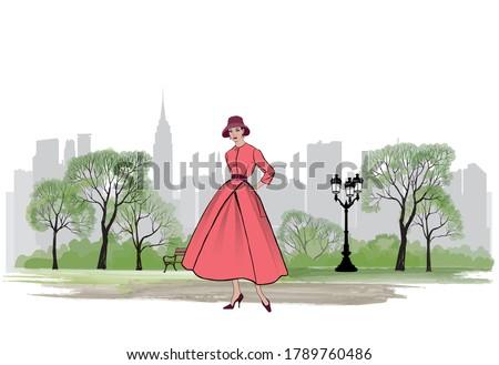 retro fashion dressed woman