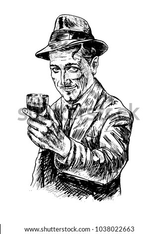 Retro fashion fifties smiling man holding a glass of wine. Gentleman with fedora hat wearing suit and trench.Vector black and white picture, american detective, poster, sign usage. Style noir