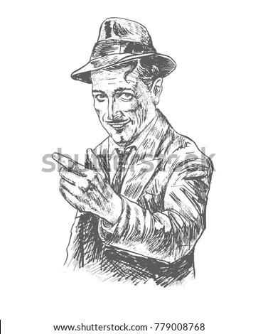 Retro fashion fifties smiling man pointing on you with fedora hat wearing suit and trench.Vector black and white picture, american detective, poster, sign usage. Style noir