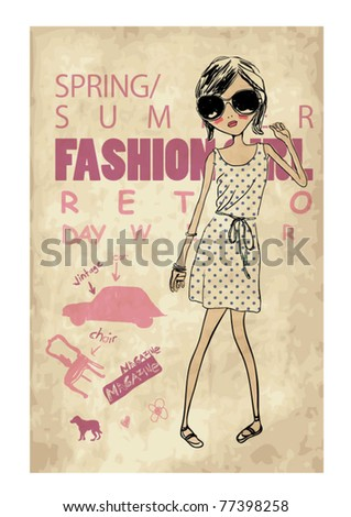 retro fashion girl