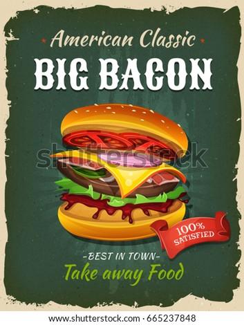 retro fast food bacon burger