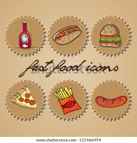 Retro Fast Food Icons Labels. Vector collection