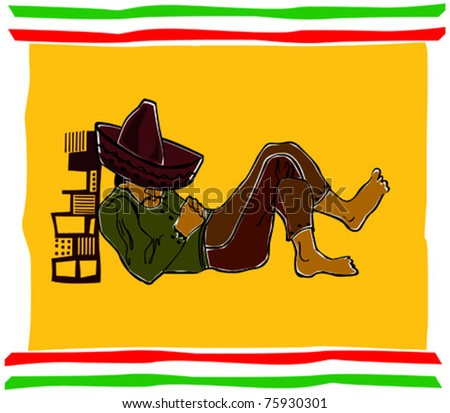 Retro Fiesta Sleeping Sombrero Man Vector Illustration
