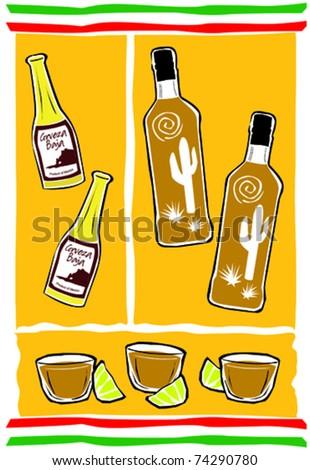 Retro Fiesta Tequila Drinking Celebration Essentials Collage Vector Illustration