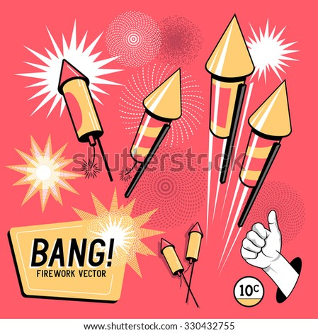 Retro Firework Rockets. Vector illustration.