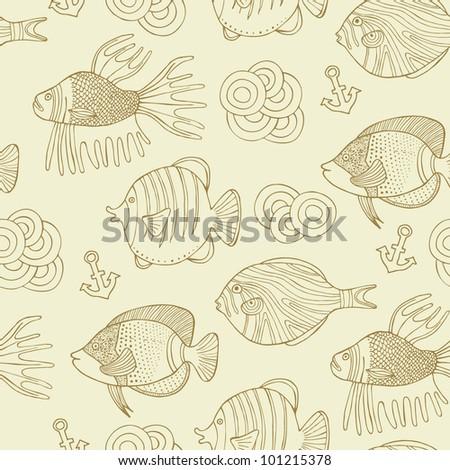 retro fish seamless background