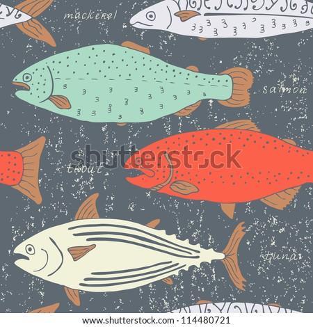 retro fish seamless pattern
