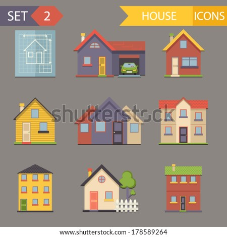 retro flat house icons and