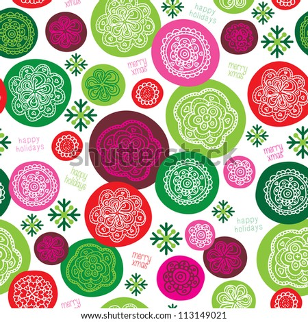 Retro floral ornament snowflake christmas background pattern in vector - stock vector