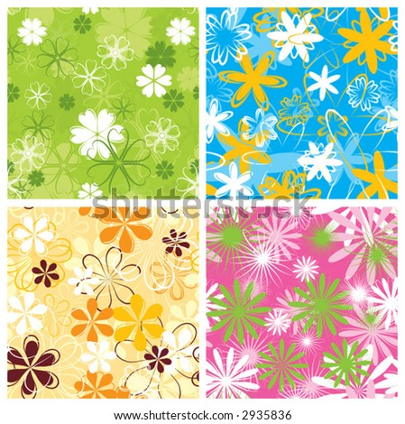 Retro floral pattern, seamless, vector illustration