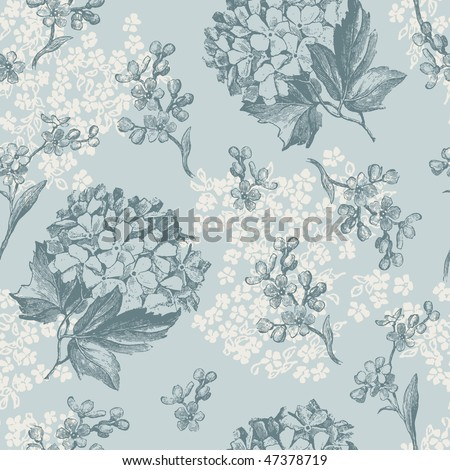 retro floral pattern with viburnum flowers and forget-me-nots - tiles seamlessly