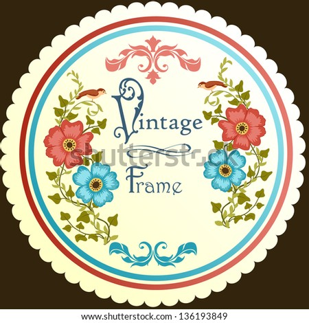 Retro floral round label - stock vector
