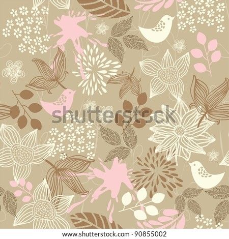 retro floral seamless background with birds