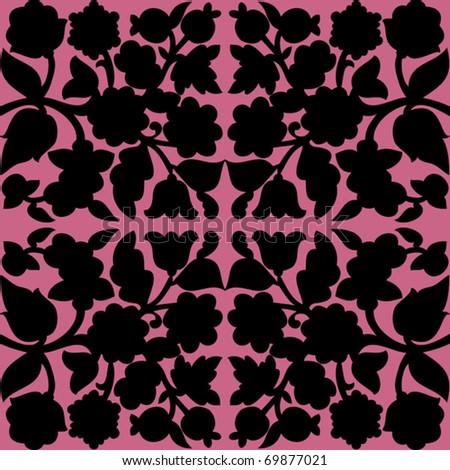 Retro floral seamless - pattern