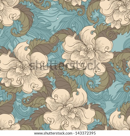vintage floral brown css html retro floral seamless pattern with beige flowers and brown